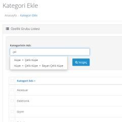 Opencart Admin Kategori Filtreleme