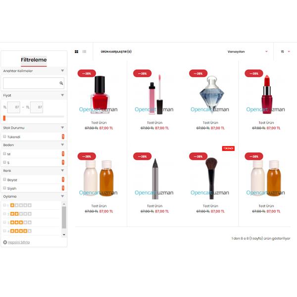 opencart ürün filtreleme modülü