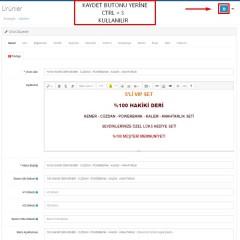 Opencart Ctrl+S ile Kayıt Modülü